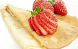 Preview wallpaper Pancakes, strawberry, dessert
