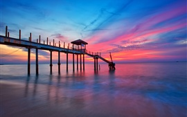Preview wallpaper Pier, sea, sunset, clouds, dusk, red style