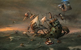Preview wallpaper Pirates, helicopter, ship, storm, sea, robot, art picture