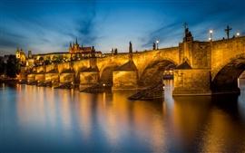 Praga, Vltava, República Checa, Charles Bridge, río, noche, luces