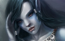Preview wallpaper Purple eyes fantasy girl, face, look