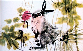 Preview wallpaper Rabbit and red flower, watercolor