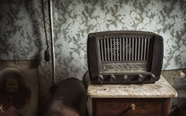 Preview wallpaper Radio, receiver, table, old electrical appliances