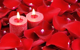 Preview wallpaper Red candles, flame, rose petals, romantic