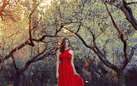 Preview wallpaper Red dress girl, hair style, trees