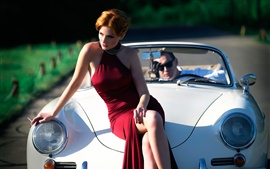 Preview wallpaper Red dress girl, legs, retro car