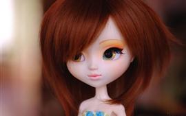 Boneca de cabelo vermelho, brinquedo