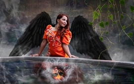 Preview wallpaper Red hair woman, wings, creative