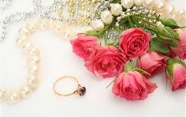 壁紙のプレビュー 赤いバラ、装飾、ビーズ、リング、宝石