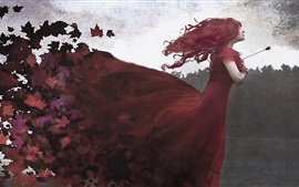 Preview wallpaper Red skirt girl, arrow, maple leaves, art picture