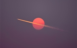 Red sun, aircraft flight, sky, dusk