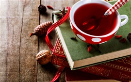 Preview wallpaper Red tea, cup, book, nut