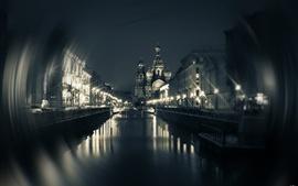 São Petersburgo, Igreja, ponte, rio, casas, noite
