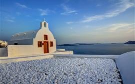 Santorini, Grecia, iglesia, montañas, isla, mar, rocas
