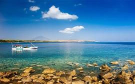 미리보기 배경 화면 바다, 해안, 암, 보트, 어부