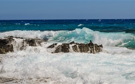 Preview wallpaper Sea, coast, waves, water, stones