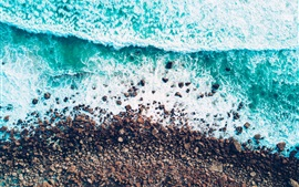 Sea, shore, stones, waves, water, top view