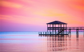 Vorschau des Hintergrundbilder Meer, Sonnenuntergang, Pier, Dämmerung