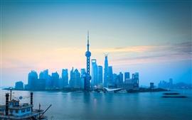 Xangai, Pudong, rio, arranha-céus, manhã, neblina
