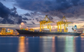 Preview wallpaper Ship, crane, industrial, shipyard, dusk, lights, clouds