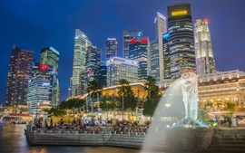 Singapore, Marina Bay, fountain, skyscrapers, night, lights, people
