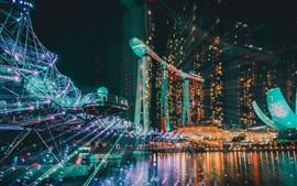 Cingapura, noite da cidade, edifícios, iluminação