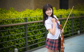 Preview wallpaper Smile Asian girl, violin, music