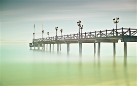 Spain, Andalusia, Marbella, bridge, sea, pier, lights, fog