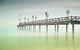 壁紙のプレビュー スペイン、アンダルシア、マルベージャ、橋、海、桟橋、ライト、霧