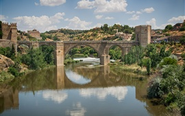 Spain, Toledo, city, bridge, trees, river