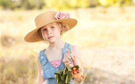Summer, child girl, hat, cherry