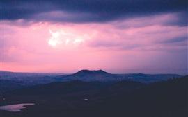 Puesta de sol, montañas, tarde, borrosa