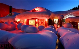 Preview wallpaper Thick snow, house, lights