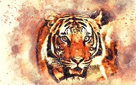 Preview wallpaper Tiger face, watercolor painting