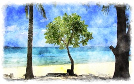 Preview wallpaper Tropical beach, trees, sea, watercolor painting