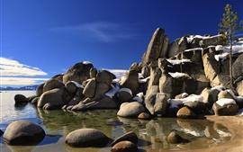 EUA, pedras, mar, costa