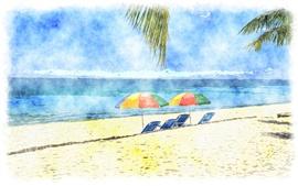 Зонты, пляж, море, акварель