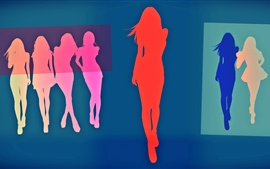 Preview wallpaper Vector girls, colorful