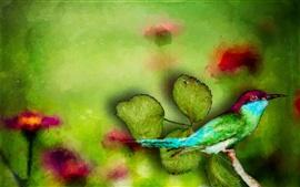 Acuarela pintura, martín pescador, hojas verdes