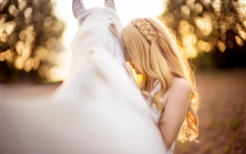 Preview wallpaper White horse and blonde girl, bokeh