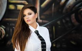 Preview wallpaper White shirt girl, tie, face, long hair