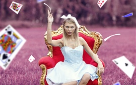 White skirt girl, chair, playing cards