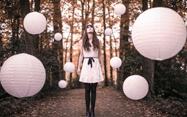 Preview wallpaper White skirt girl, forest, ball lamps flight