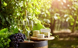Preview wallpaper Wine, glass cups, grapes, cheese, leaves, sunshine