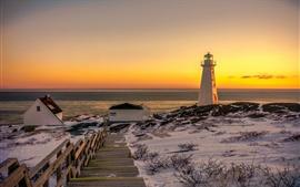 Winter, ladders, snow, lighthouse, morning, sea