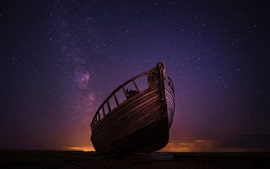Preview wallpaper Wood boat, starry, night, sky