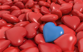 3D love hearts, many red and one blue
