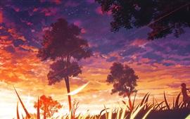 Anime, arbres, coucher de soleil, nuages, paysage de nature