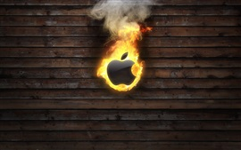 Preview wallpaper Apple burning, wood board background