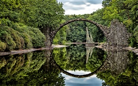 Preview wallpaper Arch, bridge, lake, water reflection, park, Germany